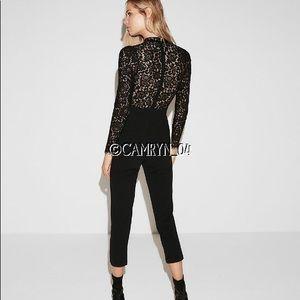 Express Pants - Express Black Long Sleeve Lace Jumpsuit